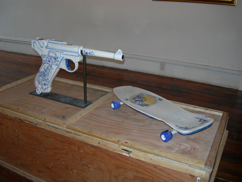 Giant Luger and Skateboard